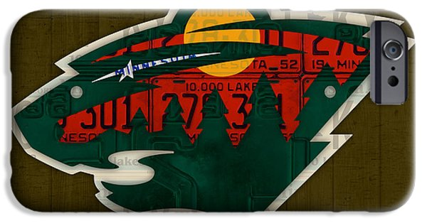 Hockey Mixed Media iPhone Cases - Minnesota Wild Retro Hockey Team Logo Recycled Land of 10000 Lakes License Plate Art iPhone Case by Design Turnpike