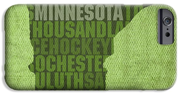 Minnesota Mixed Media iPhone Cases - Minnesota Word Art State Map on Canvas iPhone Case by Design Turnpike