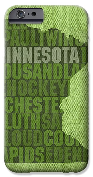 Minnesota Word Art State Map on Canvas iPhone Case by Design Turnpike