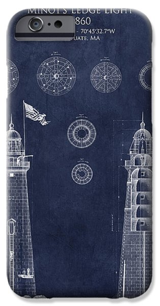 Ledge iPhone Cases - Minots Ledge Light Blueprint iPhone Case by Sara Harris