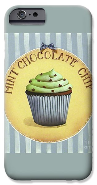 Mint Chocolate Chip Cupcake iPhone Case by Catherine Holman