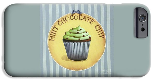 Catherine White Paintings iPhone Cases - Mint Chocolate Chip Cupcake iPhone Case by Catherine Holman
