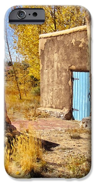 Sw New Mexico iPhone Cases - Morada de Taos with Blue Door iPhone Case by Ann Powell