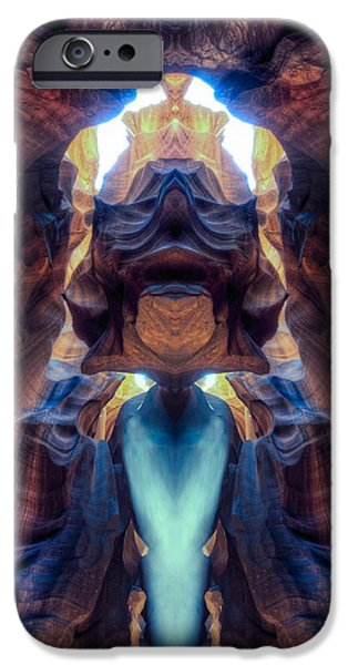 Out Of This World iPhone Cases - Mirror images of the Antelope canyon - Alien king iPhone Case by Lilia D