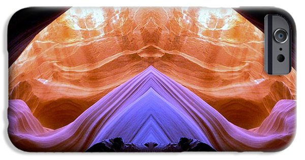 Out Of This World iPhone Cases - Mirror images of the Antelope canyon - Alien Temple iPhone Case by Lilia D