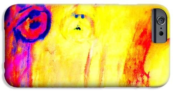 Response Paintings iPhone Cases - Mirror looking back at me  iPhone Case by Hilde Widerberg