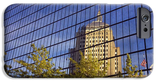 Massachusetts Autumn Scenes iPhone Cases - Mirrored Hancock - Boston iPhone Case by Joann Vitali
