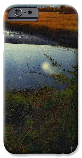 Salt Marsh. New England iPhone Cases - Mirrored Moon iPhone Case by RC deWinter
