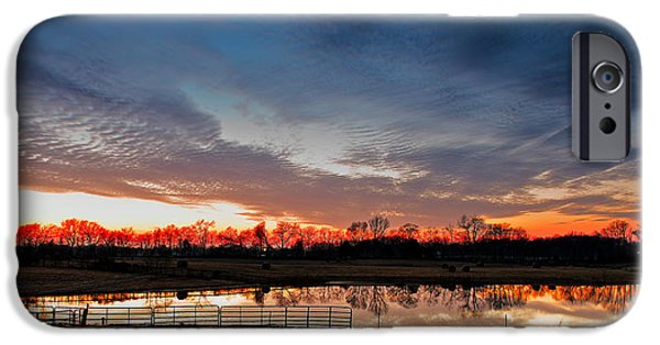 Tn Barn iPhone Cases - Mirrored Sunset  iPhone Case by Brett Engle