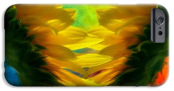 Abstract Sunflower iPhone Cases - Mirrorring Suns iPhone Case by Lourry Legarde