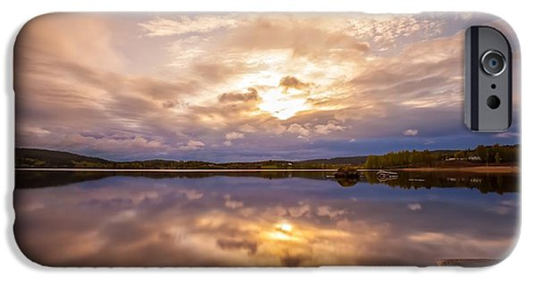 Sunset In Norway iPhone Cases - Mirrors iPhone Case by Rose-Maries Pictures