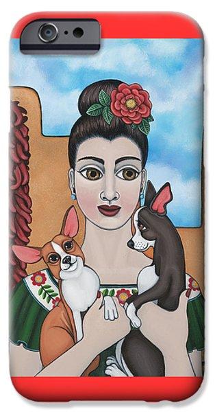 Small Dogs iPhone Cases - Mis Carinos iPhone Case by Victoria De Almeida