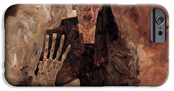Eerie Paintings iPhone Cases - Misery Welcomes iPhone Case by Schiele