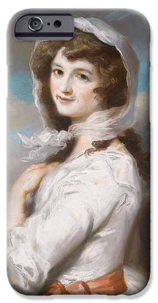 Pastel Drawings iPhone Cases - Miss Adelaide Paine iPhone Case by William Hamilton