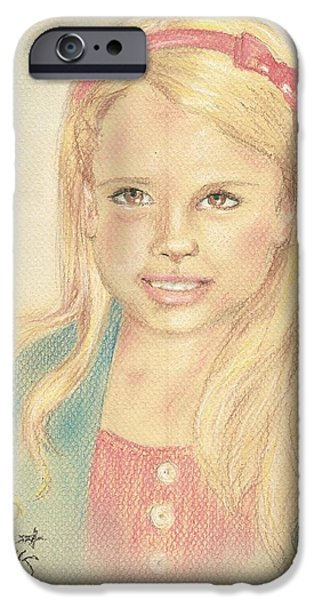 Innocence Drawings iPhone Cases - Miss Coots iPhone Case by P J Lewis