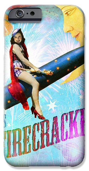 Blue Fireworks iPhone Cases - Miss Fire Cracker iPhone Case by Aimee Stewart