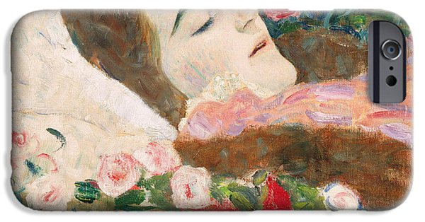 Mourning iPhone Cases - Miss Ria Munk on her Deathbed iPhone Case by Gustav Klimt