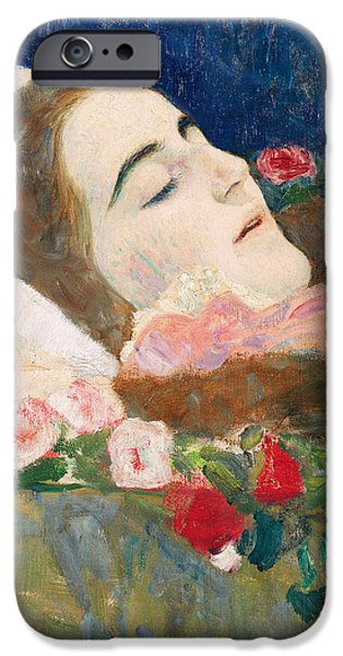Miss Ria Munk on her Deathbed iPhone Case by Gustav Klimt