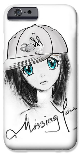 Manga iPhone Cases - Missing You iPhone Case by Mo T