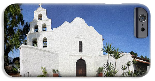 Historic Site iPhone Cases - Mission Basilica San Diego de Alcala iPhone Case by Stephen Stookey