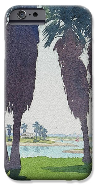 Mission iPhone Cases - Mission Bay Park with Palms iPhone Case by Mary Helmreich