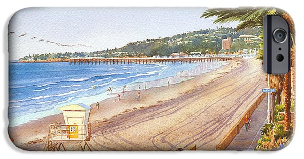 California Beach iPhone Cases - Mission Beach San Diego iPhone Case by Mary Helmreich