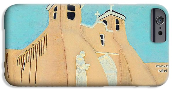 Old Reliefs iPhone Cases - Mission Church New Mexico iPhone Case by Alberto H-B