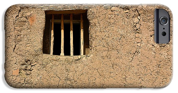 New Mexico iPhone Cases - Mission Church Window iPhone Case by Joe Kozlowski