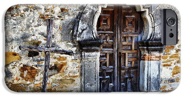 Old Churches iPhone Cases - Mission Espada Entrance iPhone Case by Stephen Stookey