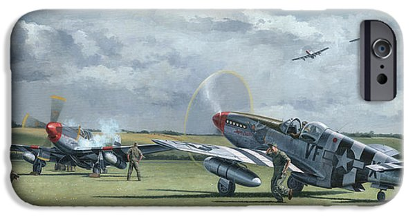 P-51 Mustang iPhone Cases - Mission from Debden iPhone Case by Wade Meyers