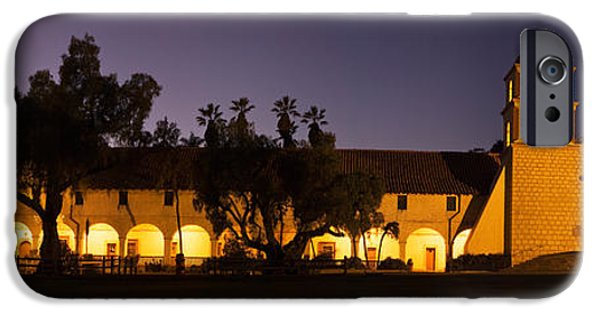 Santa iPhone Cases - Mission Lit Up At Night, Mission Santa iPhone Case by Panoramic Images