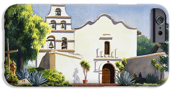 Historic Site Paintings iPhone Cases - Mission San Diego De Alcala iPhone Case by Mary Helmreich