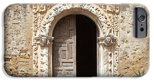 Interior Still Life iPhone Cases - Mission San Jose Chapel Entry Doorway iPhone Case by John Stephens