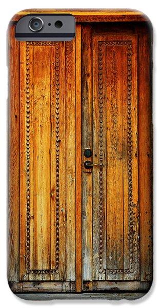 Wooden Door iPhone Cases - Mission San Juan Capistrano Door -- San Antonio iPhone Case by Stephen Stookey