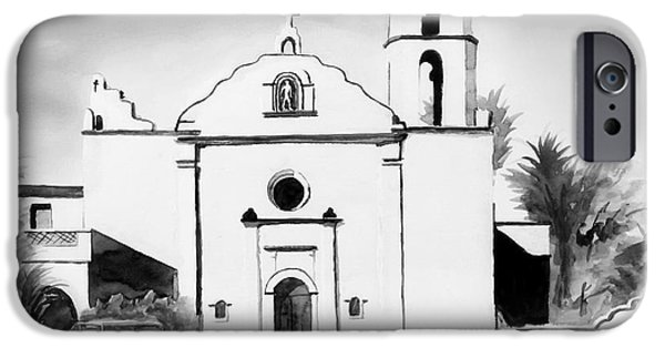Buildings Mixed Media iPhone Cases - Mission San Luis Rey BW Blue iPhone Case by Kip DeVore