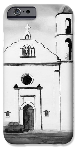 Mission San Luis Rey BW Blue iPhone Case by Kip DeVore