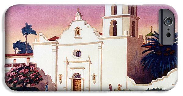 Mission iPhone Cases - Mission San Luis Rey iPhone Case by Mary Helmreich
