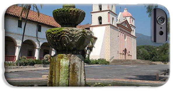 Fontain iPhone Cases - Mission Santa Barbara And Fountain iPhone Case by Christiane Schulze Art And Photography