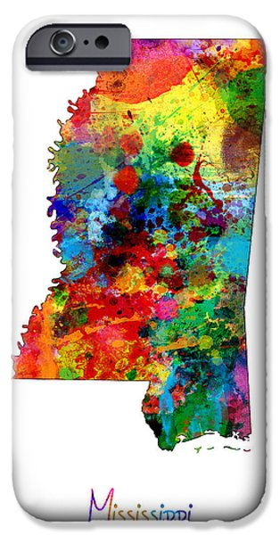 Mississippi iPhone Cases - Mississippi Map iPhone Case by Michael Tompsett