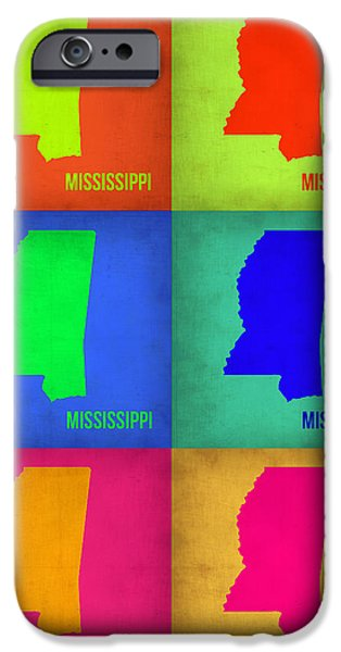 Mississippi iPhone Cases - Mississippi Pop Art Map 1 iPhone Case by Naxart Studio