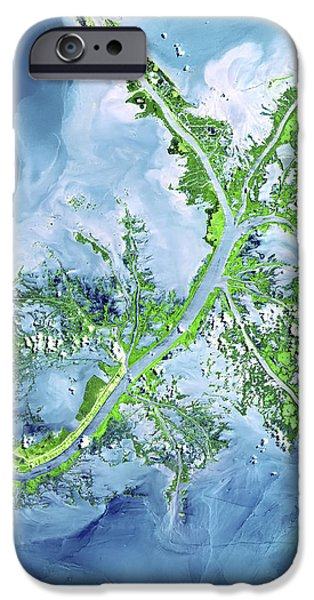 Mississippi River Delta iPhone Case by Adam Romanowicz