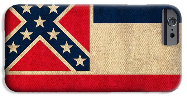 Mississippi iPhone Cases - Mississippi State Flag Art on Worn Canvas iPhone Case by Design Turnpike