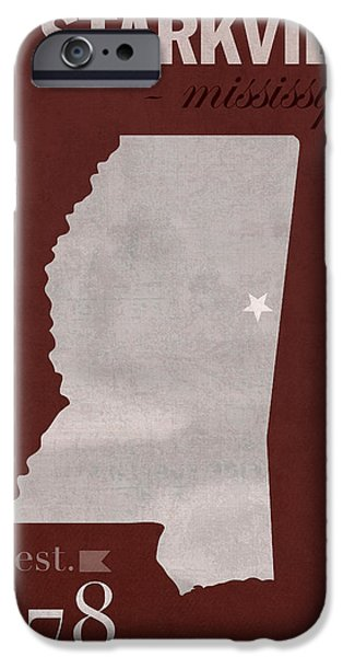 Mississippi iPhone Cases - Mississippi State University Bulldogs Starkville College Town State Map Poster Series No 068 iPhone Case by Design Turnpike