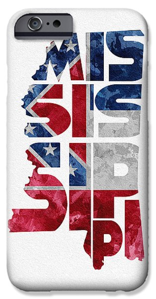 Mississippi iPhone Cases - Mississippi Typographic Map Flag iPhone Case by Ayse Deniz
