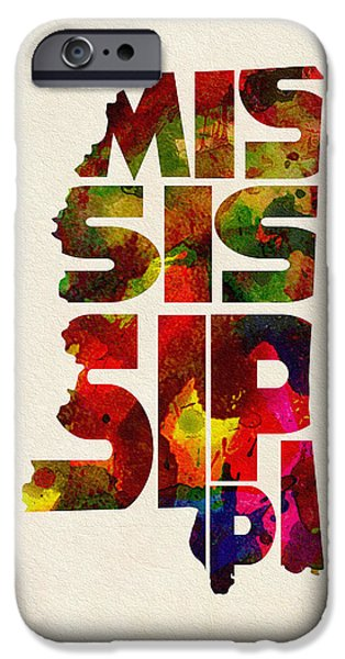 Mississippi iPhone Cases - Mississippi Typographic Watercolor Map iPhone Case by Ayse Deniz