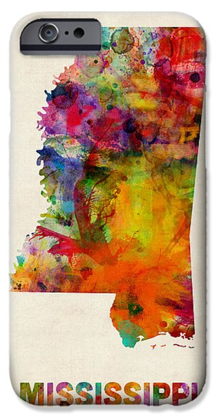 Geography iPhone Cases - Mississippi Watercolor Map iPhone Case by Michael Tompsett