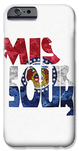 Dirty iPhone Cases - Missouri Typographic Map Flag iPhone Case by Ayse Deniz