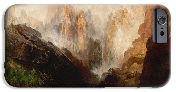 Mist Paintings iPhone Cases - Mist in Kanab Canyon Utah iPhone Case by Thomas Moran