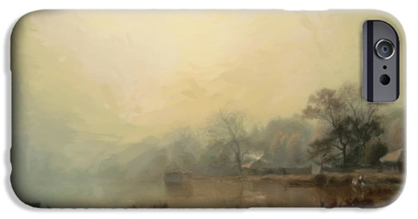 The Houses Mixed Media iPhone Cases - Mist In The Morning iPhone Case by Georgiana Romanovna