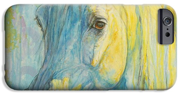 Horse Artist iPhone Cases - Misterious Blues iPhone Case by Silvana Gabudean